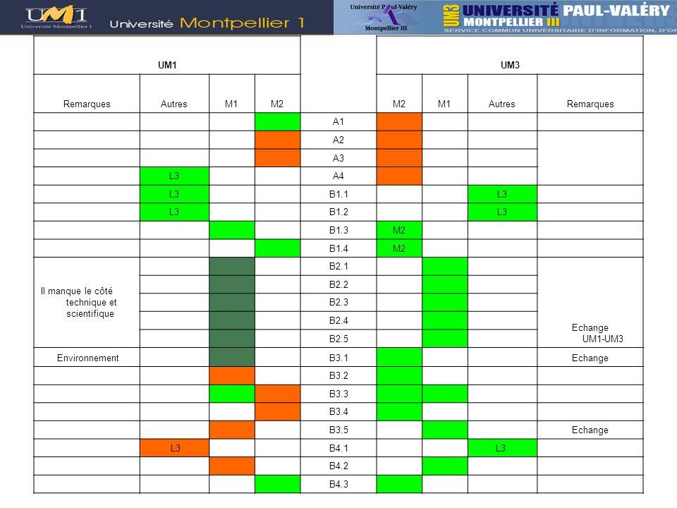 UM1 UM3. Remarques. Autres. M1. M2. A1. A2. A3. L3. A4. B1.1. B1.2. B1.3. B1.4. Il manque le côté technique et scientifique.