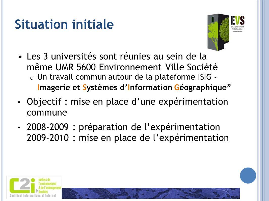 Situation initialeLes 3 universités sont réunies au sein de la même UMR 5600 Environnement Ville Société.