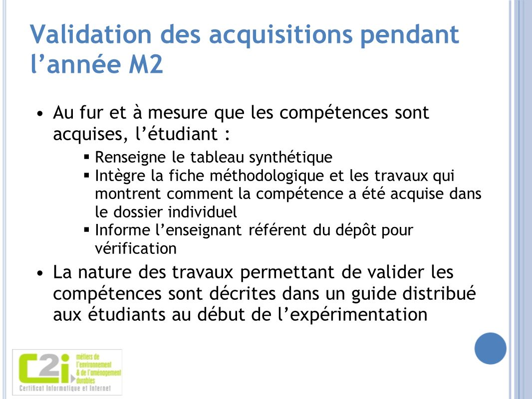 Validation des acquisitions pendant l'année M2
