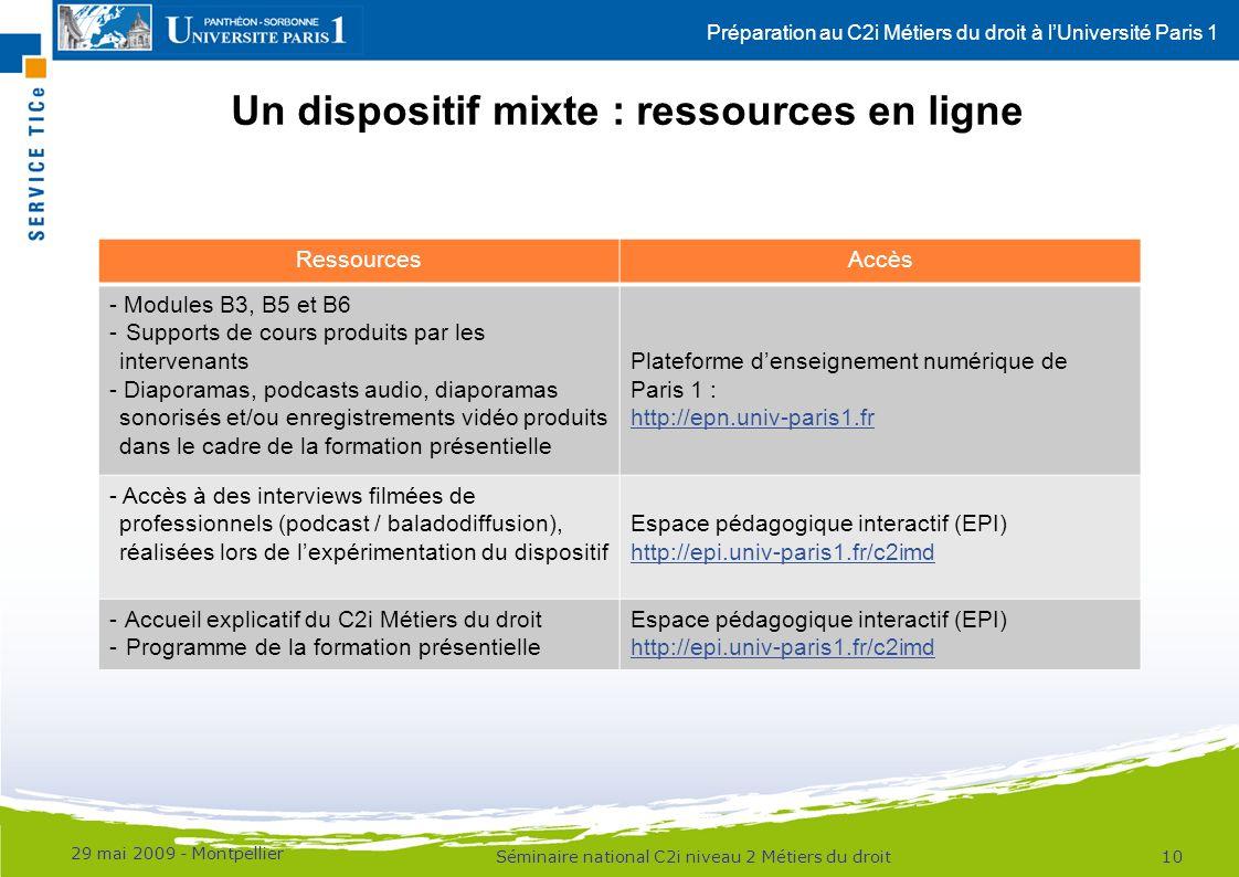 Un dispositif mixte : ressources en ligne