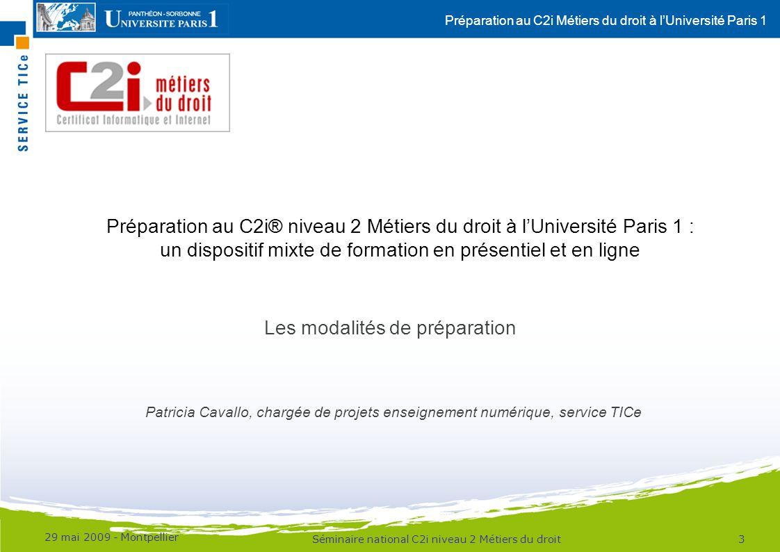 Préparation au C2i® niveau 2 Métiers du droit à l'Université Paris 1 :
