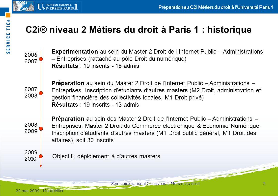 C2i® niveau 2 Métiers du droit à Paris 1 : historique