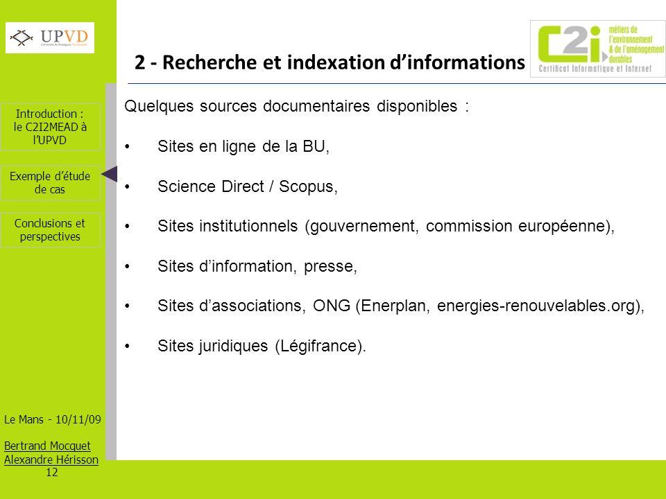 2 - Recherche et indexation d'informations