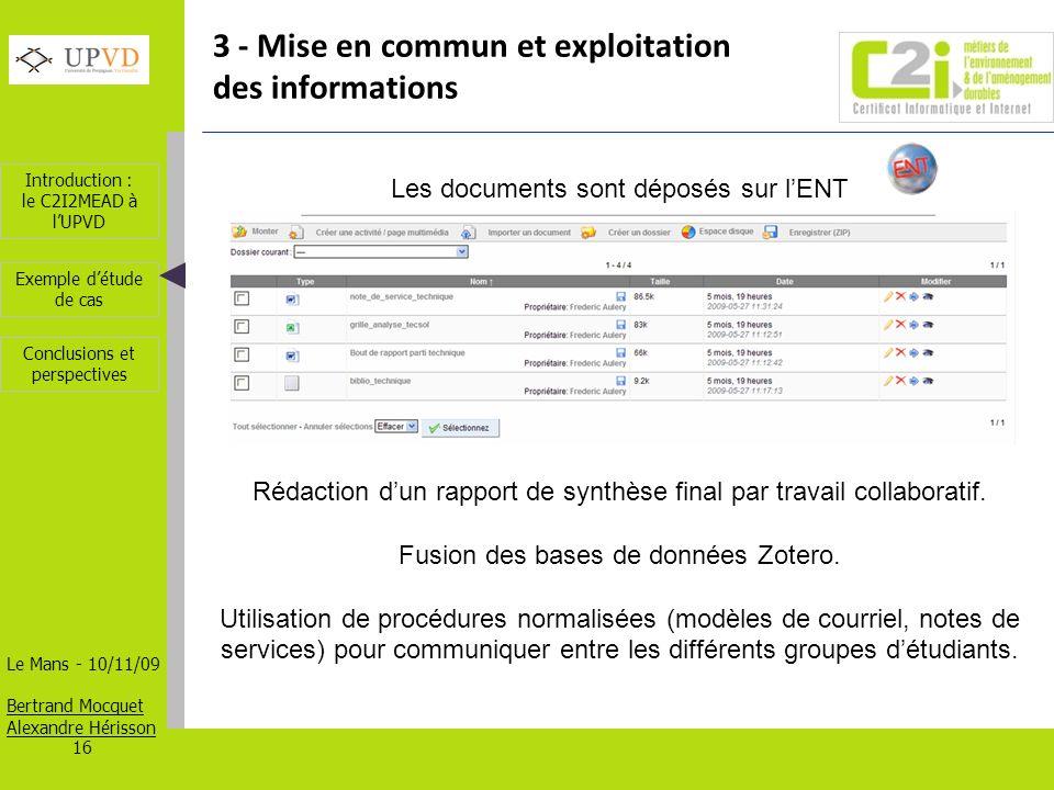 3 - Mise en commun et exploitation des informations
