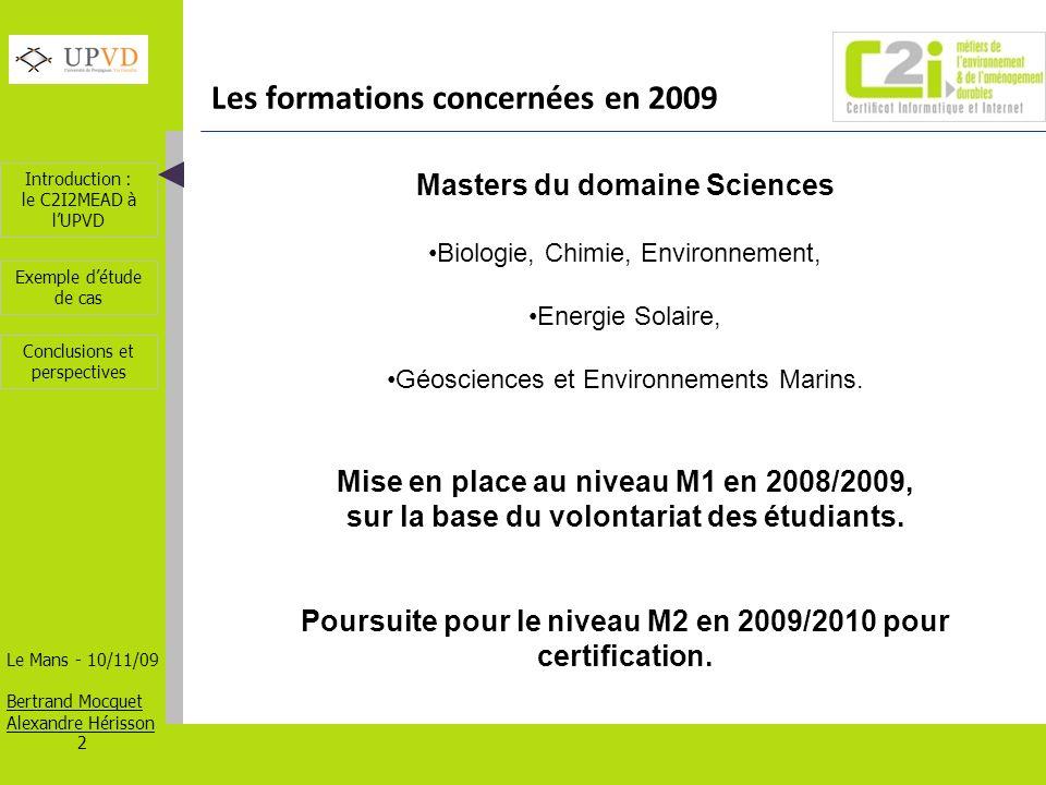 Les formations concernées en 2009