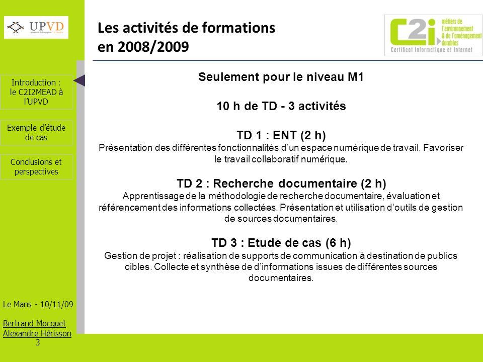 Les activités de formations en 2008/2009