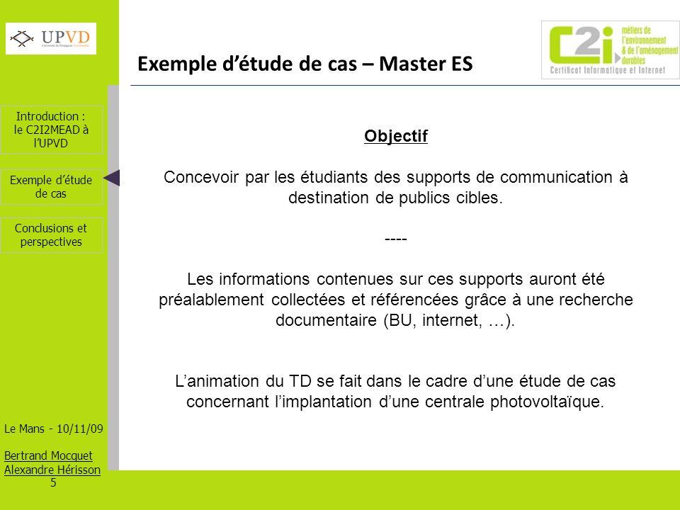 Exemple d'étude de cas – Master ES