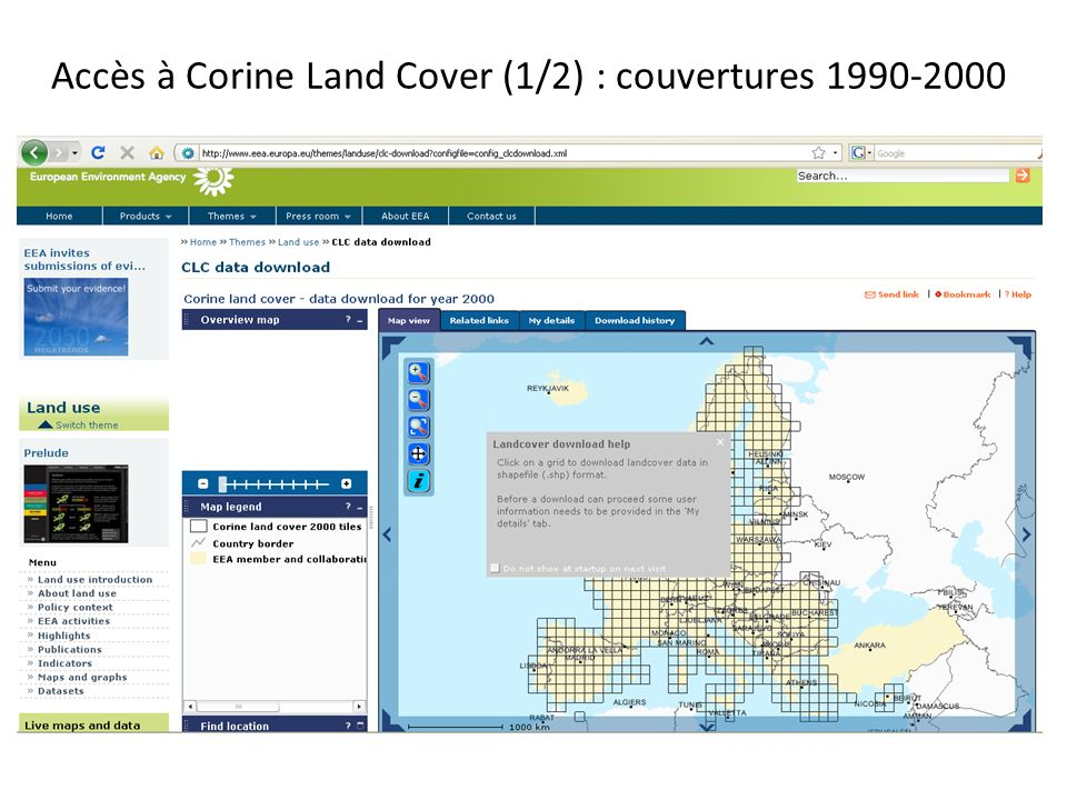 Accès à Corine Land Cover (1/2) : couvertures 1990-2000