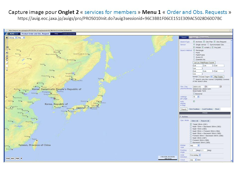 Capture image pour Onglet 2 « services for members » Menu 1 « Order and Obs.