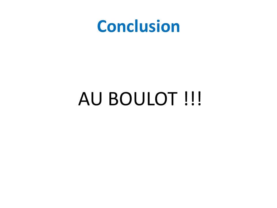 Conclusion AU BOULOT !!!
