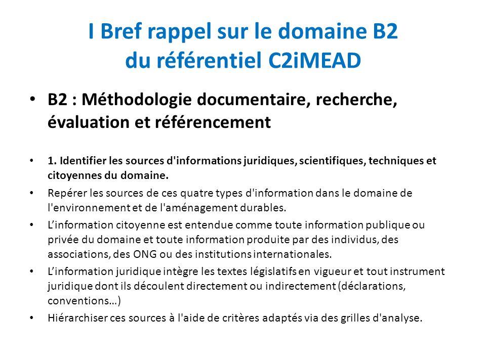 I Bref rappel sur le domaine B2 du référentiel C2iMEAD