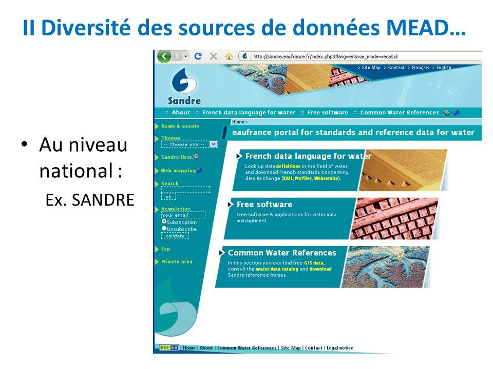 II Diversité des sources de données MEAD…