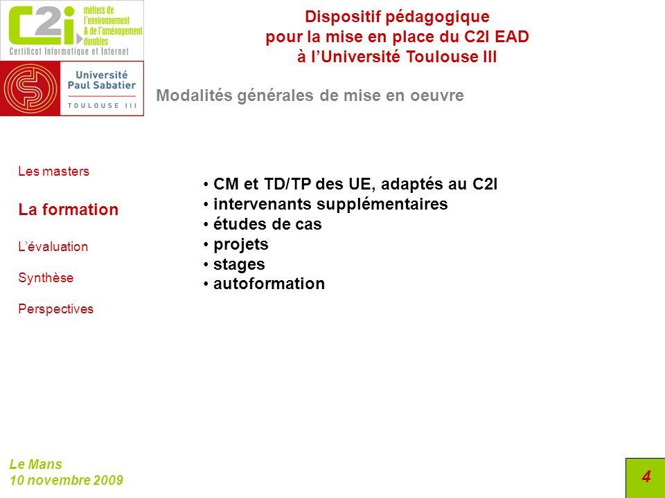 Dispositif pédagogique pour la mise en place du C2I EAD
