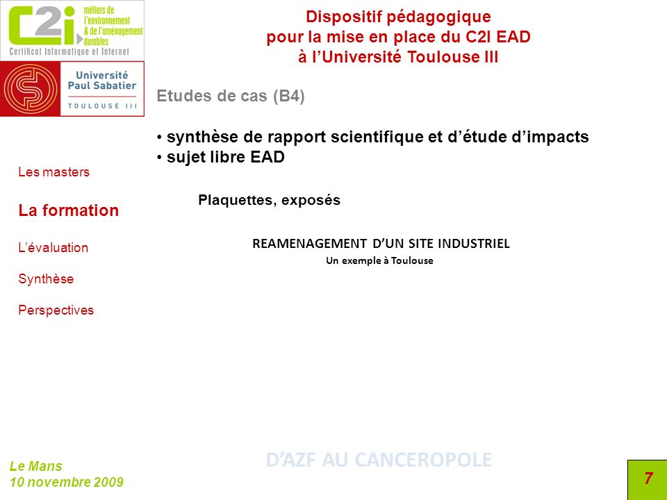D'AZF AU CANCEROPOLE Dispositif pédagogique