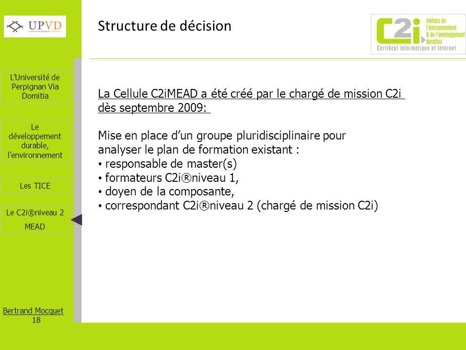 Structure de décision La Cellule C2iMEAD a été créé par le chargé de mission C2i. dès septembre 2009: