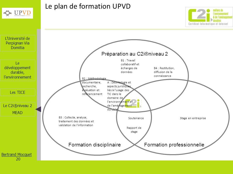 Le plan de formation UPVD
