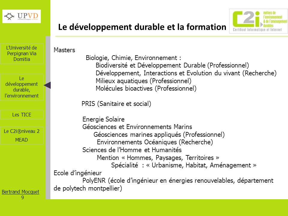 Le développement durable et la formation