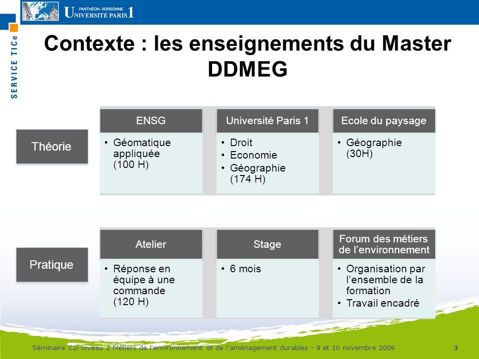 Contexte : les enseignements du Master DDMEG