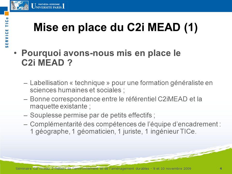 Mise en place du C2i MEAD (1)