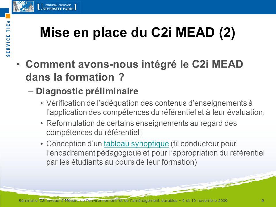 Mise en place du C2i MEAD (2)