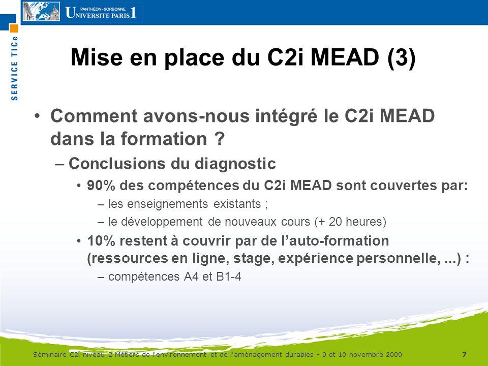Mise en place du C2i MEAD (3)
