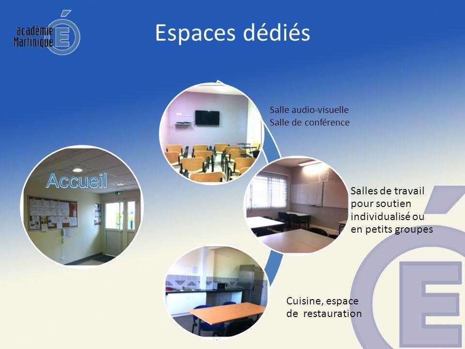 Espaces dédiés Salle audio-visuelle. Salle de conférence. Salles de travail pour soutien individualisé ou en petits groupes.