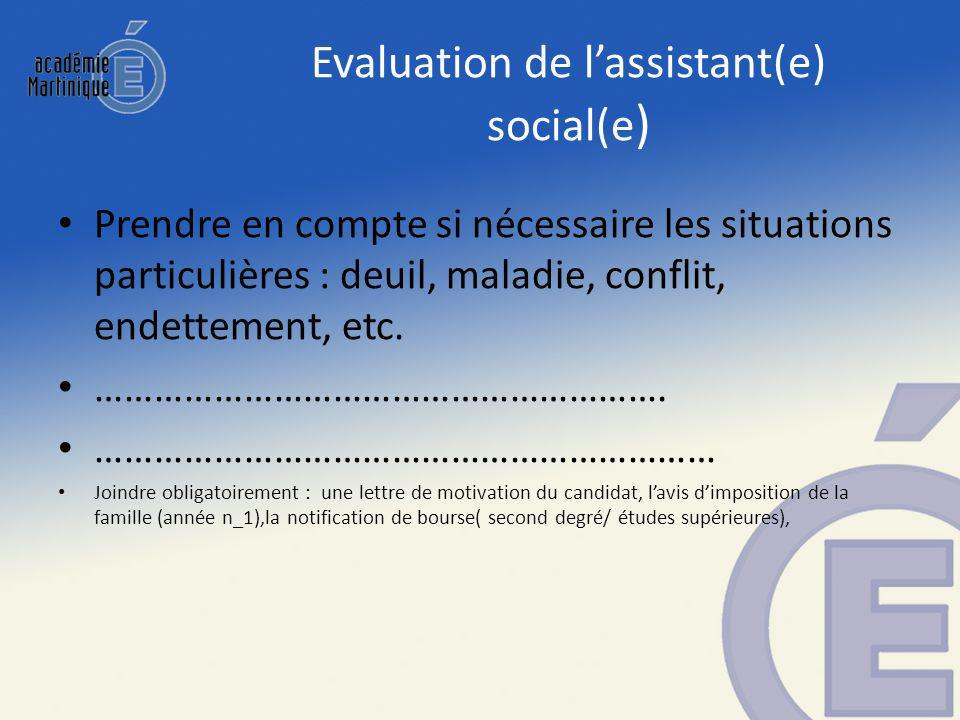 Evaluation de l'assistant(e) social(e)