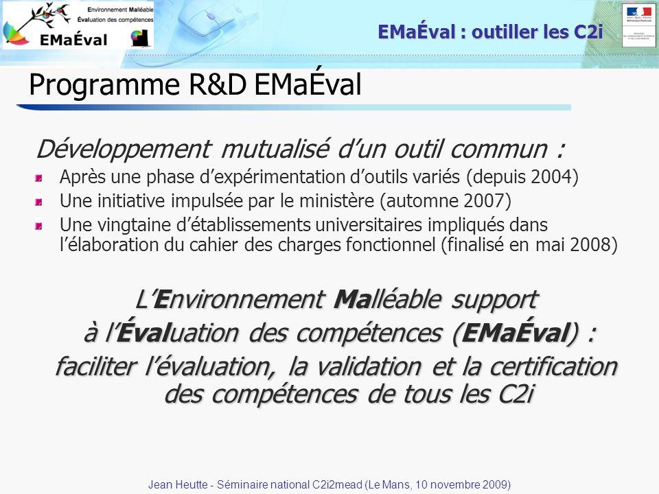 Programme R&D EMaÉval Développement mutualisé d'un outil commun :