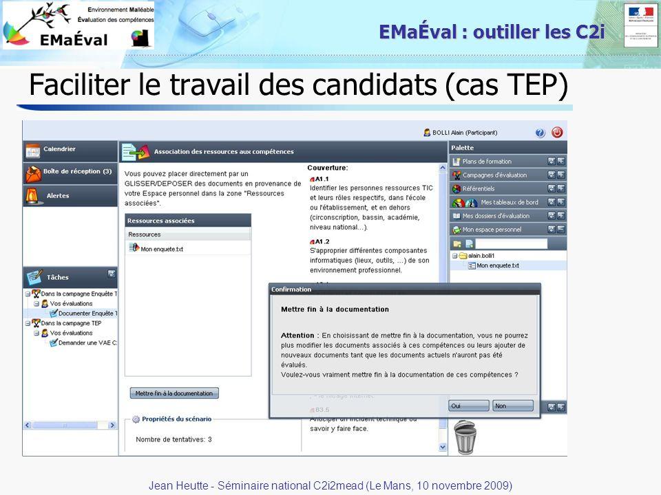 Faciliter le travail des candidats (cas TEP)