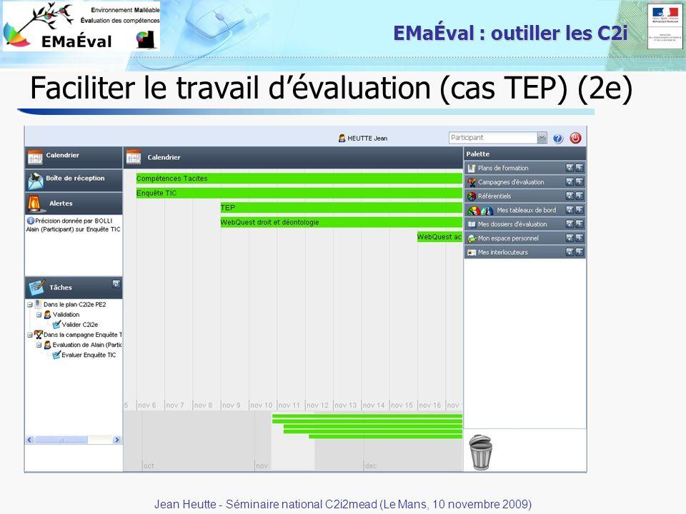 Faciliter le travail d'évaluation (cas TEP) (2e)