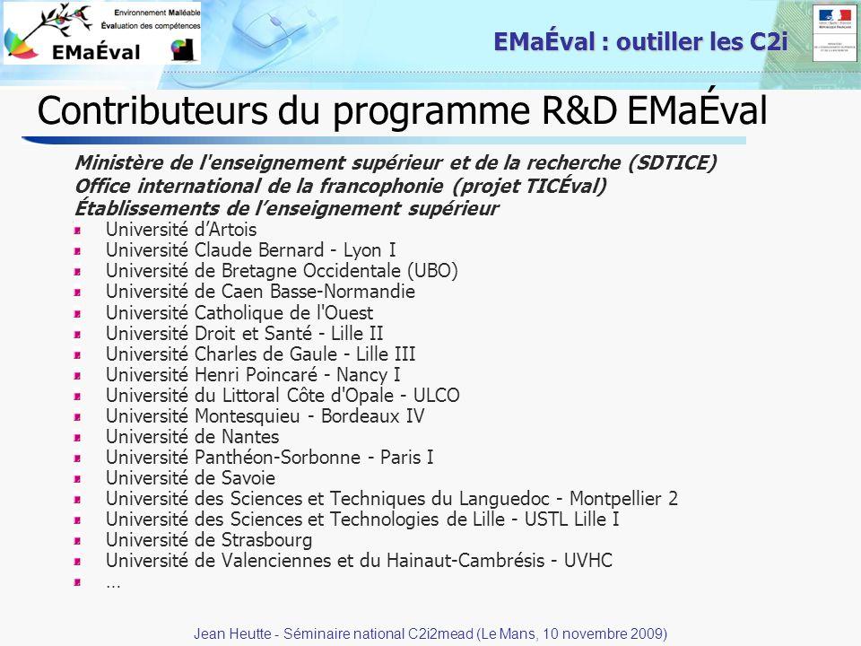 Contributeurs du programme R&D EMaÉval