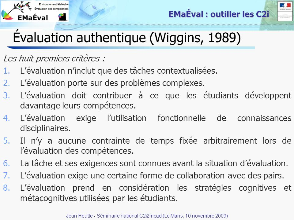 Évaluation authentique (Wiggins, 1989)