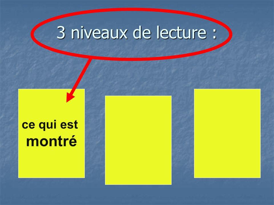 3 niveaux de lecture : ce qui est montré