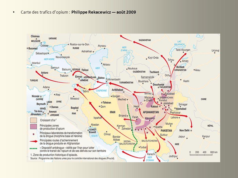 Carte des trafics d'opium : Philippe Rekacewicz — août 2009
