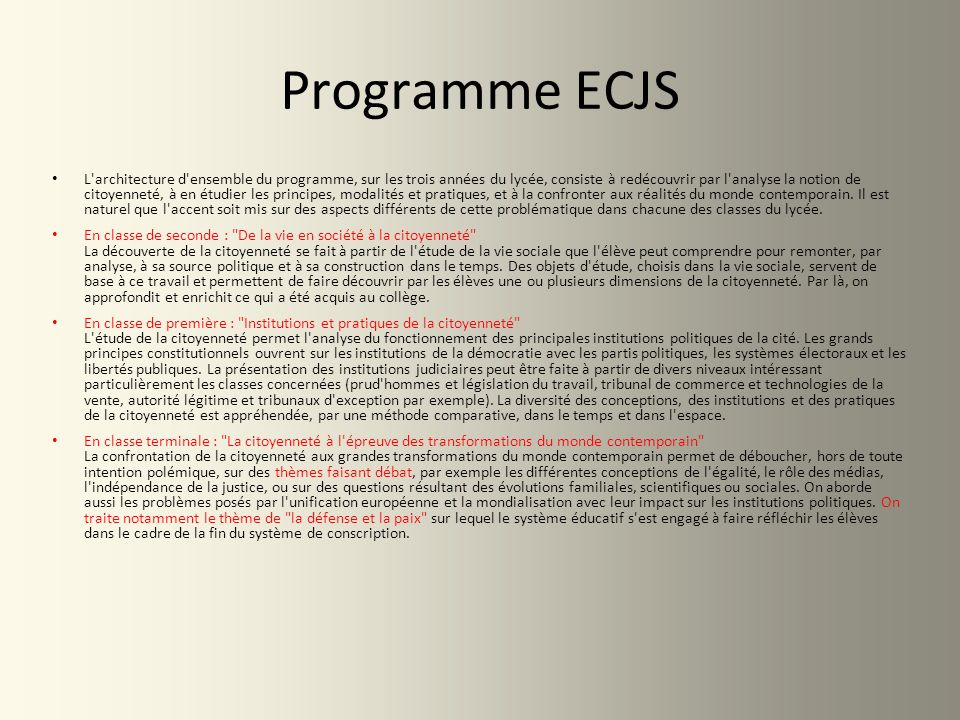 Programme ECJS