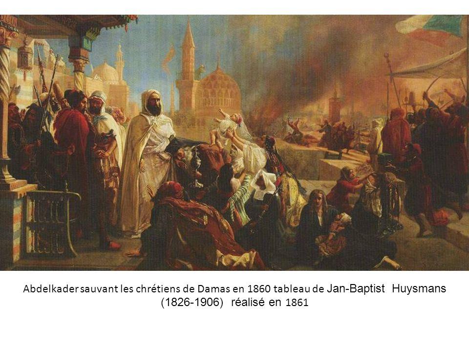 Abdelkader sauvant les chrétiens de Damas en 1860 tableau de Jan-Baptist Huysmans (1826-1906) réalisé en 1861