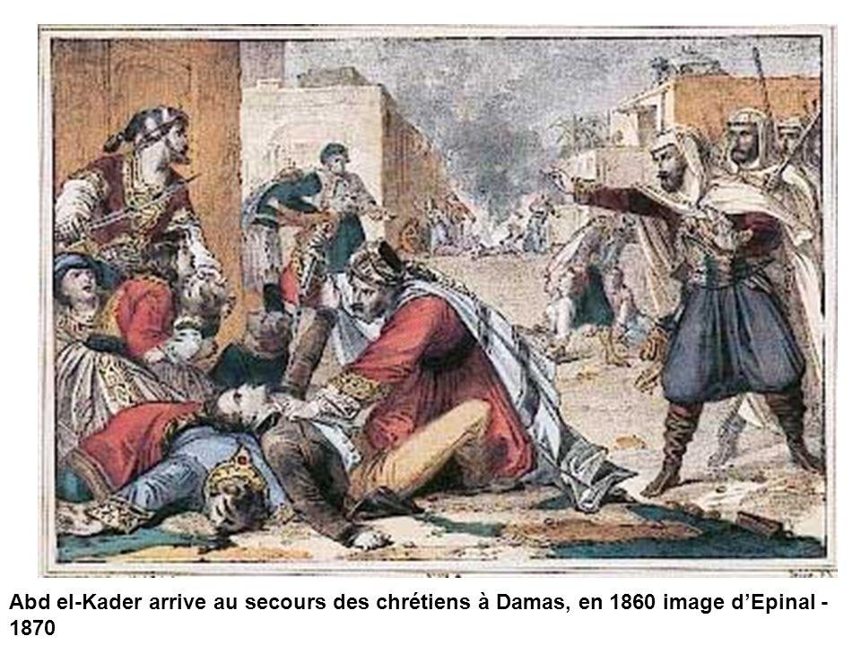 Abd el-Kader arrive au secours des chrétiens à Damas, en 1860 image d'Epinal - 1870