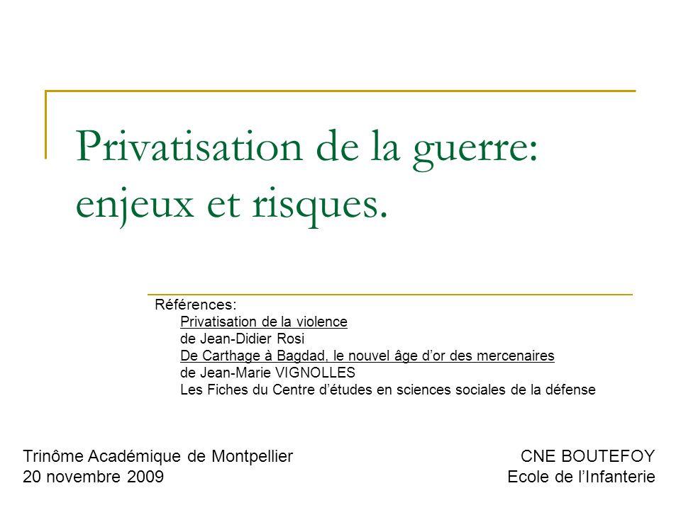 Privatisation de la guerre: enjeux et risques.