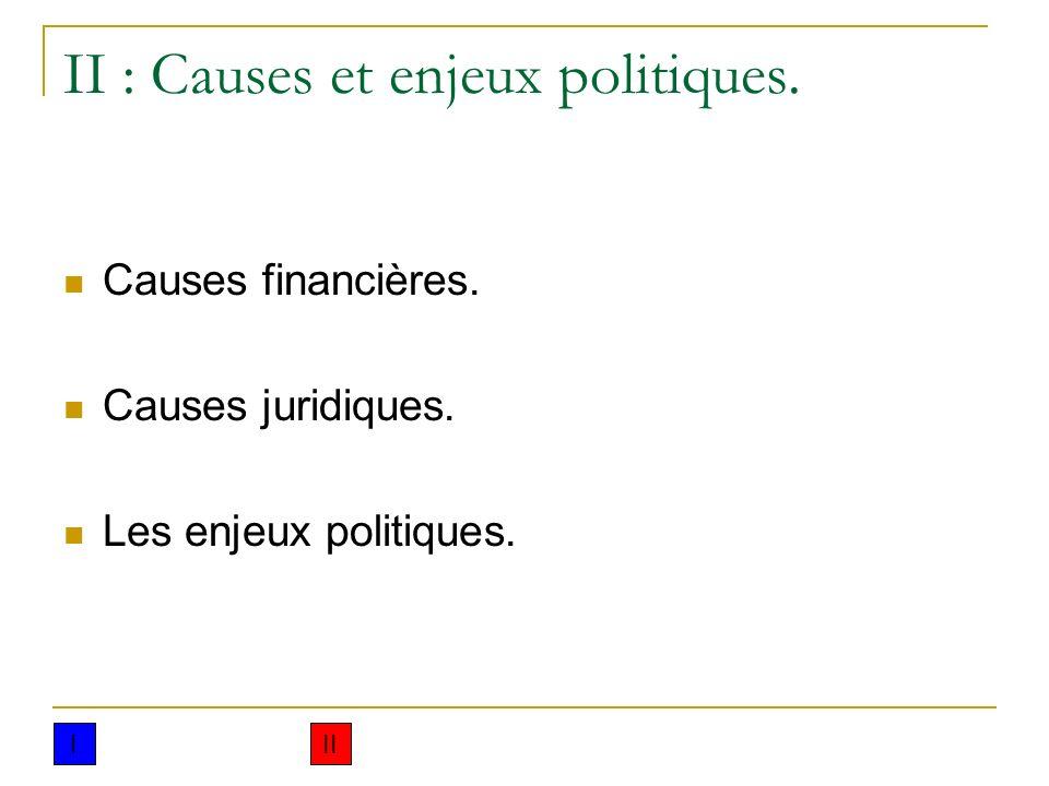 II : Causes et enjeux politiques.