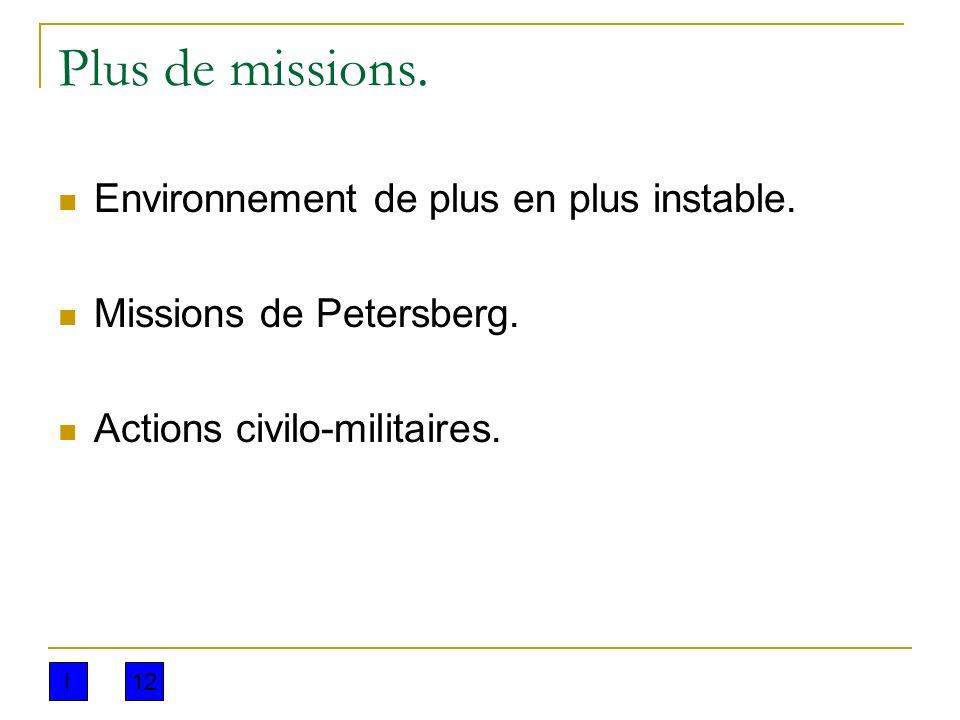 Plus de missions. Environnement de plus en plus instable.