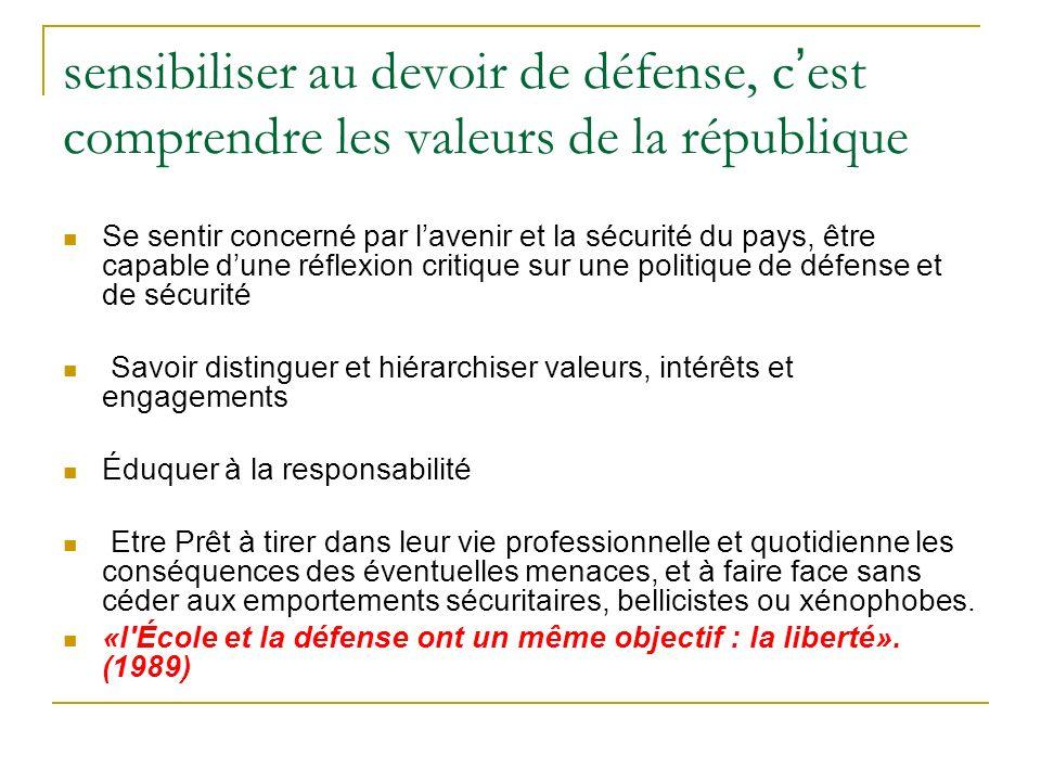sensibiliser au devoir de défense, c'est comprendre les valeurs de la république