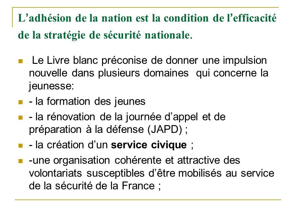 L'adhésion de la nation est la condition de l'efficacité de la stratégie de sécurité nationale.