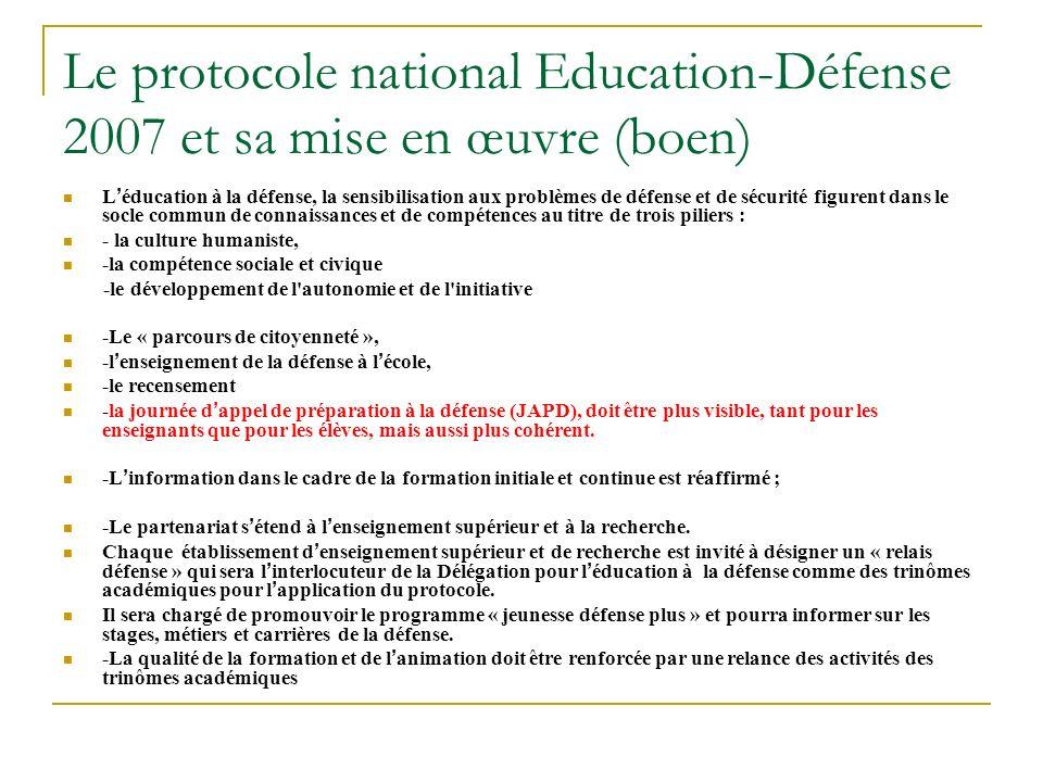 Le protocole national Education-Défense 2007 et sa mise en œuvre (boen)