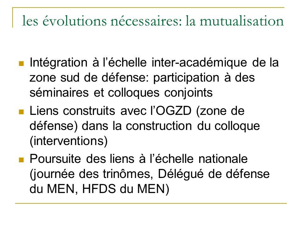 les évolutions nécessaires: la mutualisation