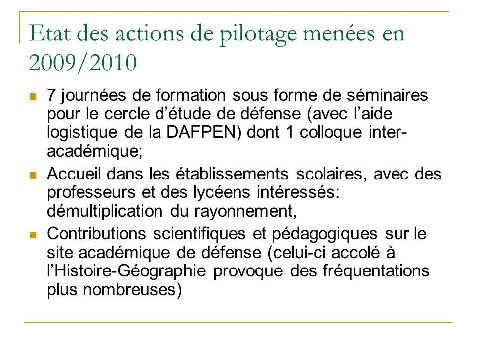 Etat des actions de pilotage menées en 2009/2010