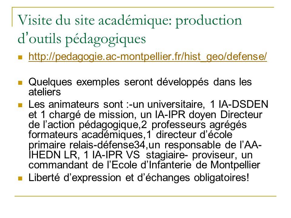 Visite du site académique: production d'outils pédagogiques