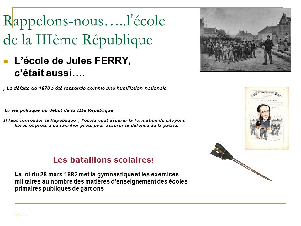 Rappelons-nous…..l'école de la IIIème République