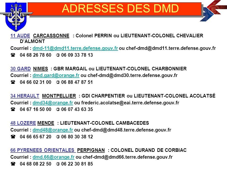 ADRESSES DES DMD 11 AUDE CARCASSONNE : Colonel PERRIN ou LIEUTENANT-COLONEL CHEVALIER D'ALMONT.
