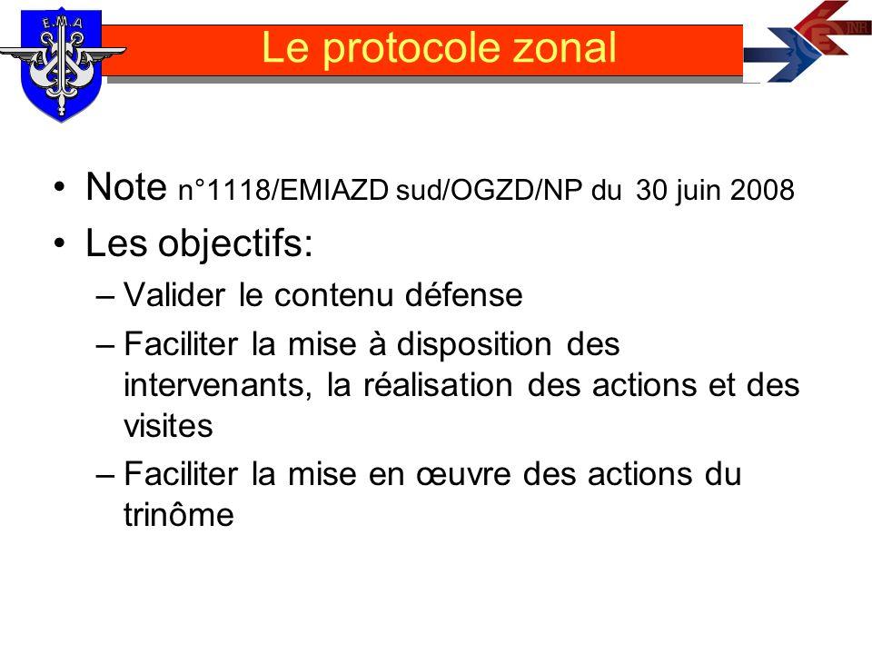 Le protocole zonal Note n°1118/EMIAZD sud/OGZD/NP du 30 juin 2008