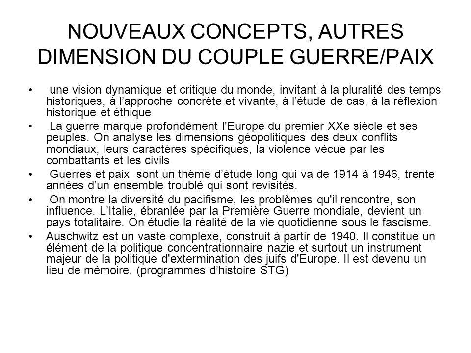 NOUVEAUX CONCEPTS, AUTRES DIMENSION DU COUPLE GUERRE/PAIX
